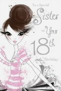 18th Sister Birthday Card